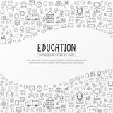 Educação infographic com ícones tirados mão da escola da garatuja ilustração royalty free