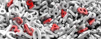 Educação, matemáticas, conceito do cálculo Figuras números vermelhas entre os números brancos, histórico completo, bandeira ilust Fotografia de Stock Royalty Free