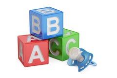Educação para o conceito do bebê, cubos do ABC com chupeta renderin 3D Fotografia de Stock