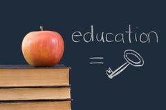 Educación = clave - escrito en la pizarra con la manzana Imagenes de archivo