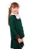 Educación. Colegiala en uniforme escolar. Fotos de archivo libres de regalías