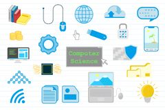 Educación de informática con con los diversos objetos y línea fondo - ejemplo del papel del vector stock de ilustración