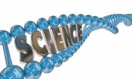 Educación de la investigación médica del filamento de la DNA de la palabra de la ciencia Imagen de archivo