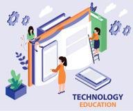 Educación de la tecnología dada en un concepto isométrico de las ilustraciones del libro stock de ilustración