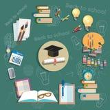 Educación de nuevo a escuela de los exámenes del diploma de los temas de escuela de la escuela ilustración del vector