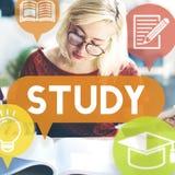 Educación del estudio que aprende concepto de la penetración de la mejora foto de archivo libre de regalías