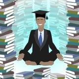 Educación del negocio Hombre de negocios African American que medita adentro Stock de ilustración