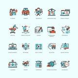 Educación a distancia y formación de los cursos, del vídeo y del personal de los tutoriales en línea stock de ilustración