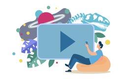 Educación en línea con el concepto video del vector de las lecciones ilustración del vector