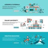 Educación en línea, cursos de aprendizaje en línea, formación del personal, banderas del vector de los tutoriales del web fijadas stock de ilustración