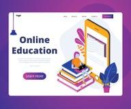 Educación en línea de estudiantes con concepto isométrico móvil en línea de las ilustraciones libre illustration
