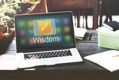 Educación en línea del icono del lápiz que aprende concepto gráfico imagenes de archivo