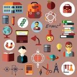 Educación, escuela e iconos planos de la ciencia Imágenes de archivo libres de regalías
