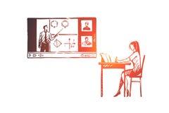 Educación, hogar, estudiante, Internet, concepto del ordenador Vector aislado dibujado mano ilustración del vector