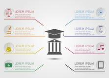Educación Infographics Aprendizaje del concepto Escuela Imagen de archivo libre de regalías