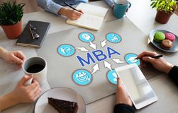 Educación principal de la administración de empresas de MBA que aprende concepto Desarrollo personal imagenes de archivo