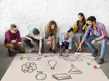 Educación que aprende concepto del conocimiento del estudio de las ideas imagenes de archivo