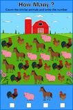 Educación que cuenta el juego de los animales del campo para los niños preescolares libre illustration