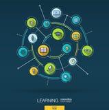 Educación y fondo abstractos del aprendizaje Digitaces conectan el sistema con los círculos integrados, iconos planos del color V stock de ilustración