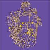 Educación del arte del garabato en fondos púrpuras Fotografía de archivo