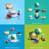 Educación e iconos del aprendizaje fijados Imagenes de archivo