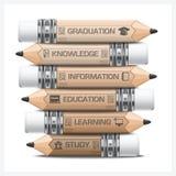 Educación e Infographic del aprendizaje con el diagrama del lápiz del paso de la etiqueta Imagen de archivo libre de regalías