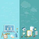 Educación: estudiante, profesor, universidad, universidad, banderas del vector Fotografía de archivo