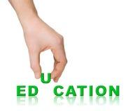 Educación y mano de la palabra Fotografía de archivo libre de regalías