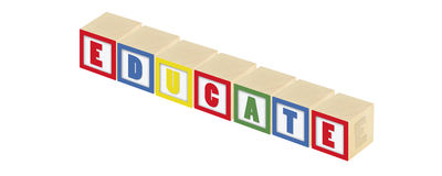 Educate Blocks. Wooden blocks that say educate stock photo