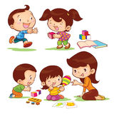 Educate children. Toys educate for development children by mom Royalty Free Stock Photo