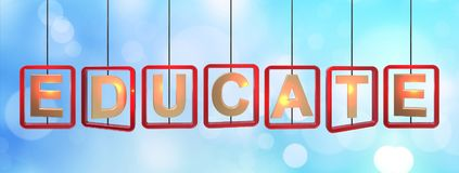 Educate letters hanging. Educate spin letters hanging from the wire on blue bokeh light background , 3d rendered banner stock illustration