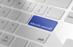 Educate yourself - Button on Computer Keyboard. 3d Rendering Stock Photography