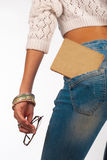 Educated jeans. Jeans and old book, education stock photos