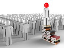 Educated Leader. 3D render image representing an educated leader on a stack of books Royalty Free Stock Photo