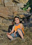 Educated little boy during a hiking expedition Stock Photography