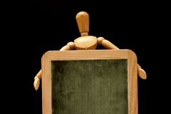 Educated mannequin. Blank chalkboard royalty free stock photography