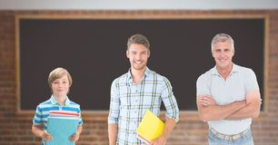 Educated men of age generations growing up with blackboard Royalty Free Stock Images