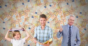 Educated men of age generations growing up with euro notes Royalty Free Stock Photography