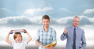 Educated men of age generations growing up with sky Royalty Free Stock Photo