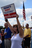 Educated Voter. An educated voter displays her sign. Tea Party Express: Sep. 9, 2011 Greenville, SC stock photos