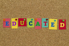 Educated word written on colorful notes Stock Images