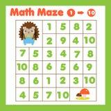 Educatiional dzieci gemowi Mathematics labirynt Labitynt z liczbami Liczący jeden, dziesięć od Zwierzę tematu aktywność dla zdjęcia stock