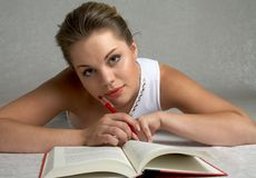 Education. Pretty girl studying Royalty Free Stock Image