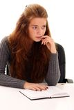Education. Portrait of the young woman with the daily log in hands Royalty Free Stock Image
