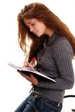 Education. Portrait of the young woman with the daily log in hands Royalty Free Stock Photos