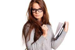 Education. Portrait of the young woman with the daily log in hands Stock Photo