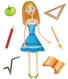 Education. Vector illustration: girl, book, writing implements and apple Stock Photo