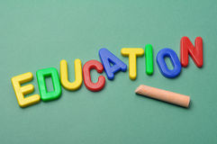 Education. Alphabet letters arranged the word education with chalk Royalty Free Stock Image