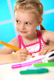 Education. First grader learns lessons in drawing Stock Image
