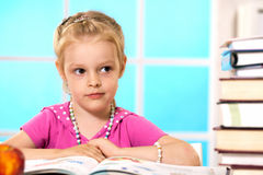 Education. First grader learns lessons in drawing Royalty Free Stock Photos